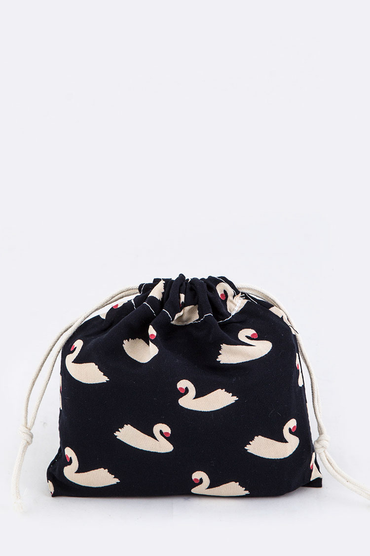 Swan Pattern Canvas Drawstring Pouch