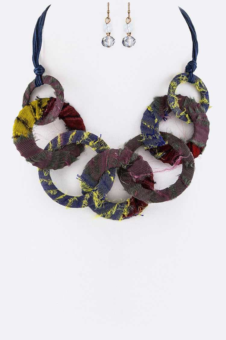 Linen Wrapped Hoops Statement Necklace Set