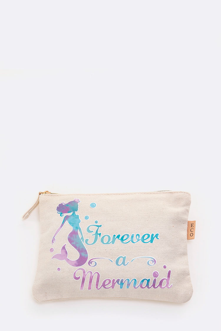 Forever A Mermaid Message Canvas Pouch