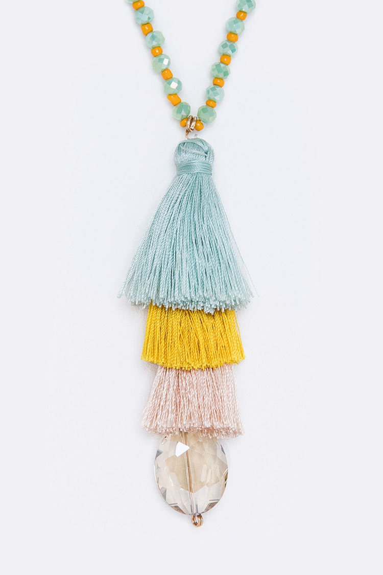 Multi Tassel Necklace Set