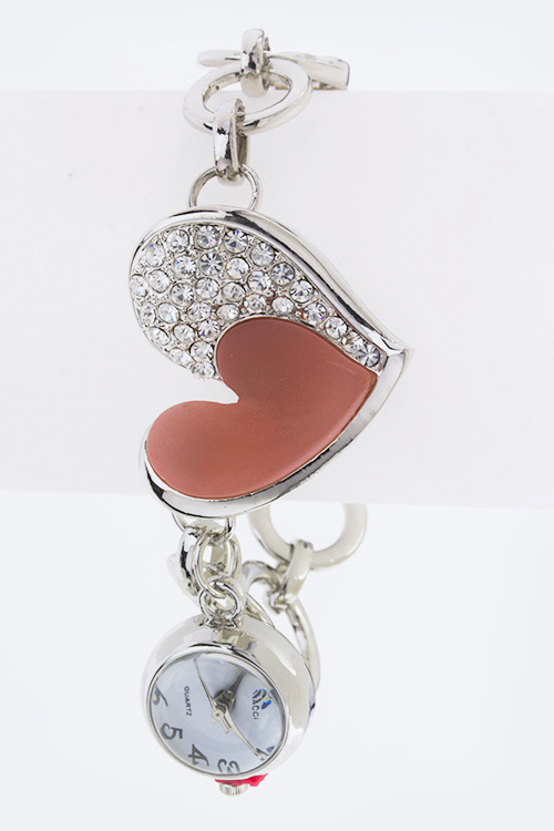 Crystal Heart Bracelet Charm Watch