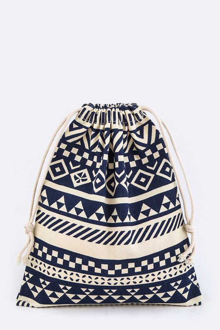 Tribal Print Drawstring Canvas Pouch - L