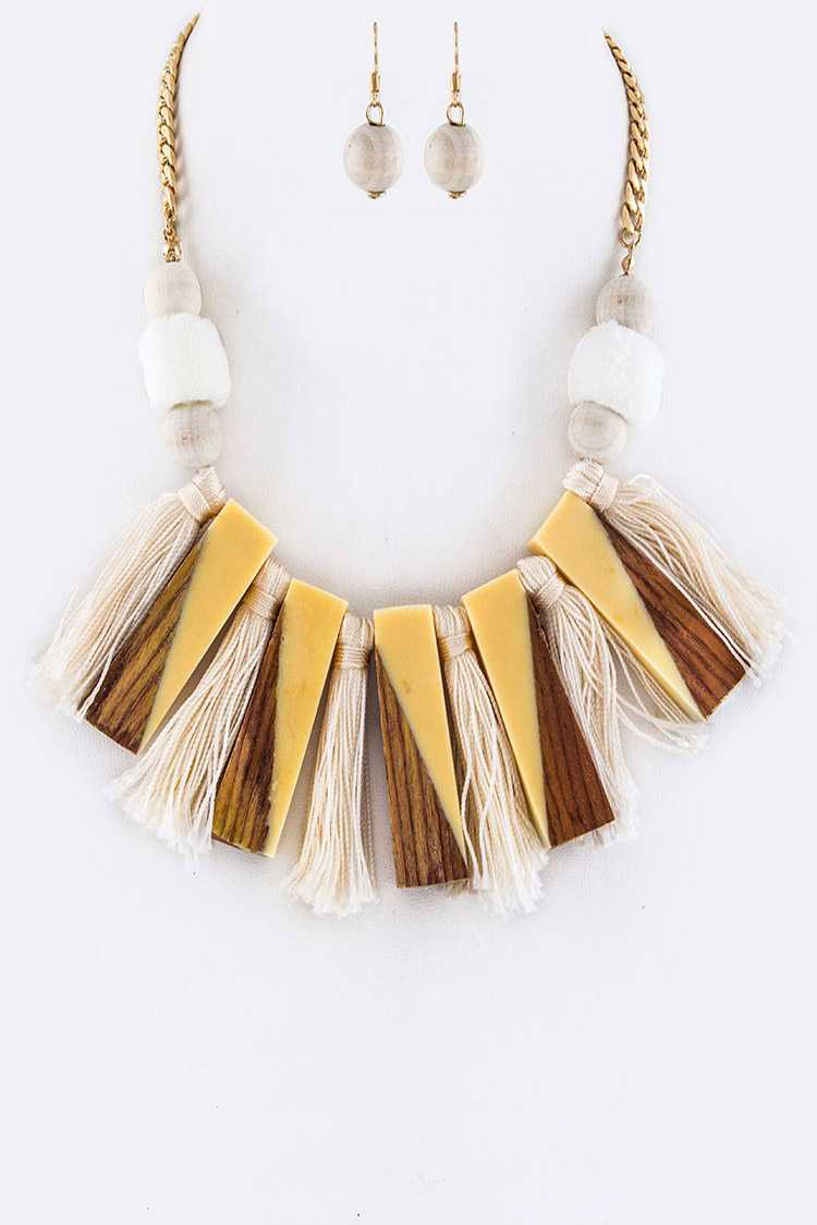 Tassels & Resin Bars Statement Necklace Set