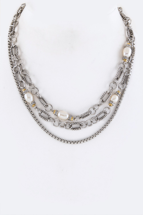 CZ & Pearl Stationed Layer Necklace