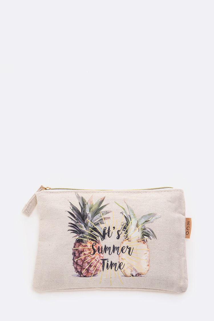It's Summer Time Pineapple Message Canvas Pouch