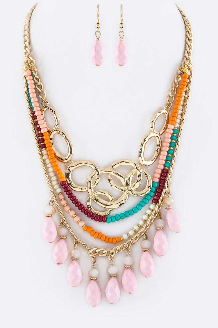 Linked Hoops & Mix Beads Layer Necklace Set