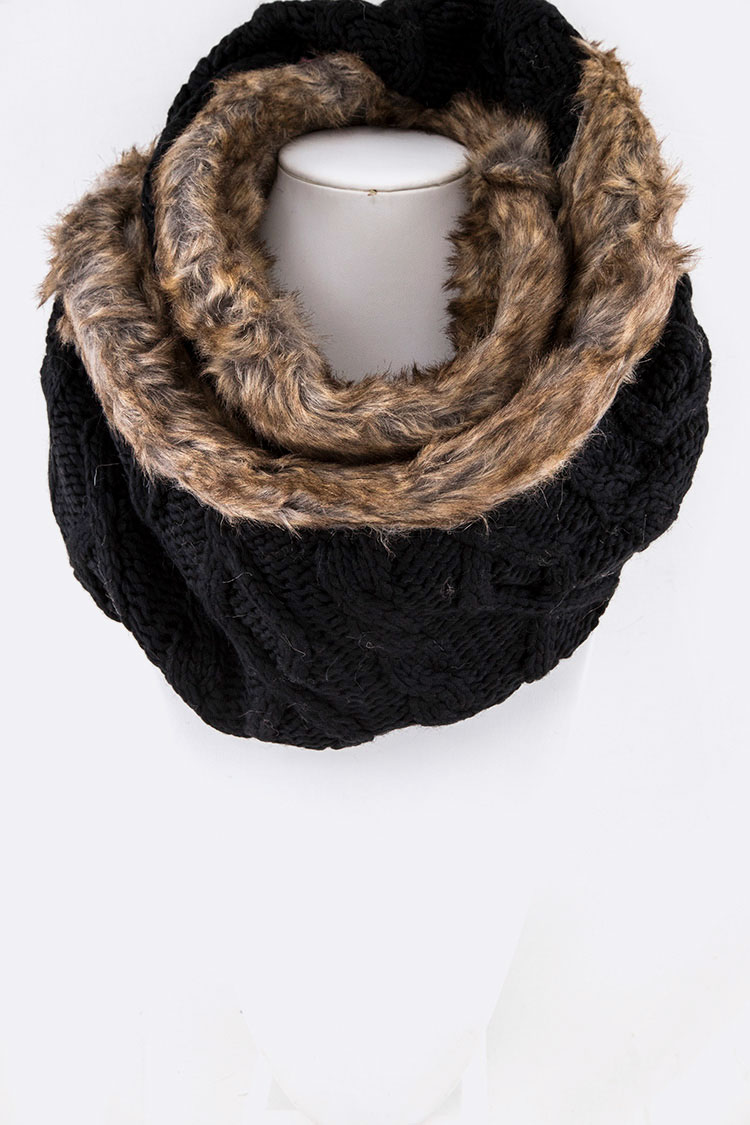 Fur Trim Cable Knit Infinity Scarf