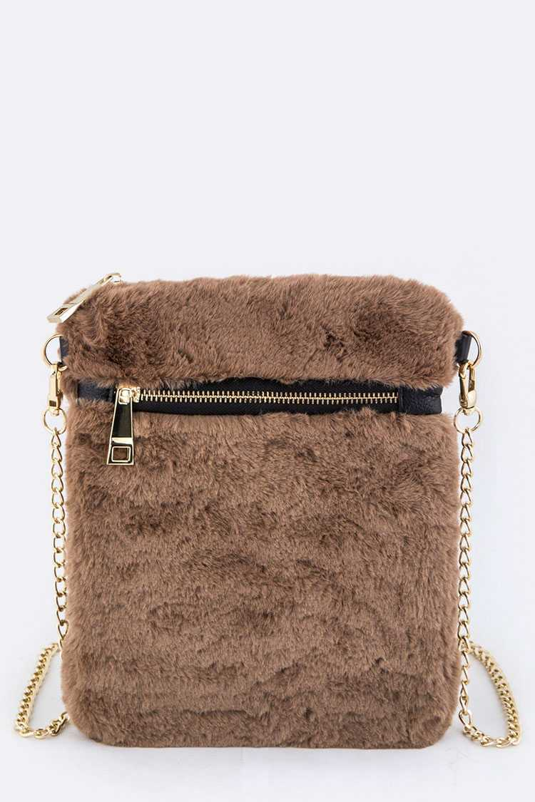 Plushy Faux Fur Crossbody Swing Bag