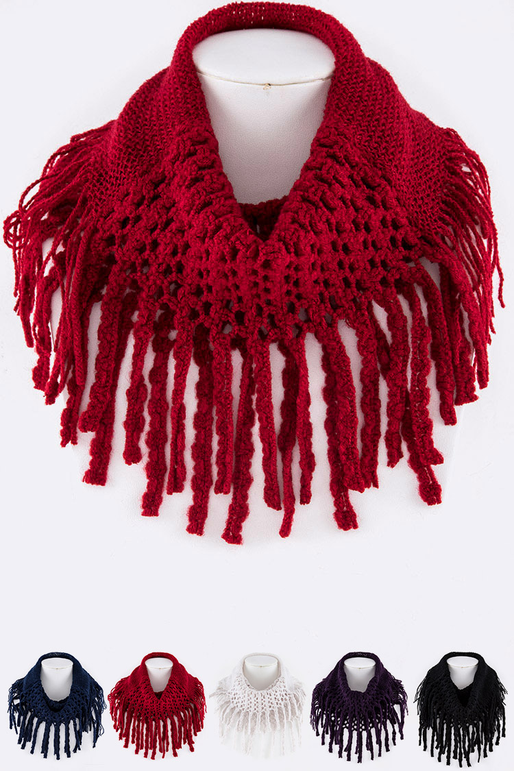 Crochet Mix Knit Fringe Eternity Scarf