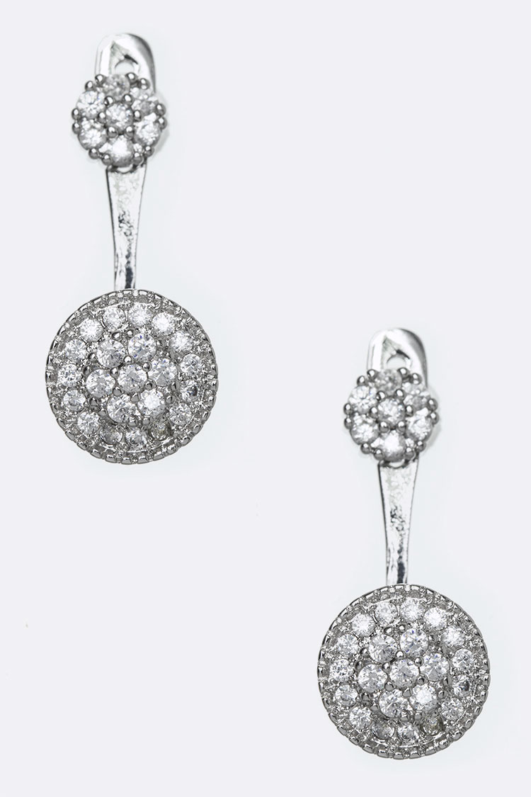 CZ Iconic Front & Back Earrings