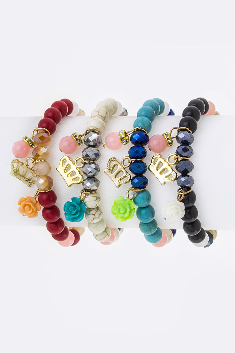 Mix Charmed Stretch Bead Bracelets Set