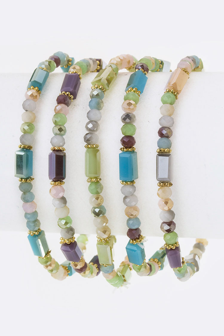 Mix Bead Stretch Bracelets Set