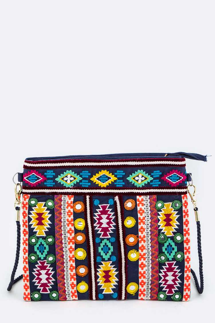 Tribal Embroidery Crossbody Bag