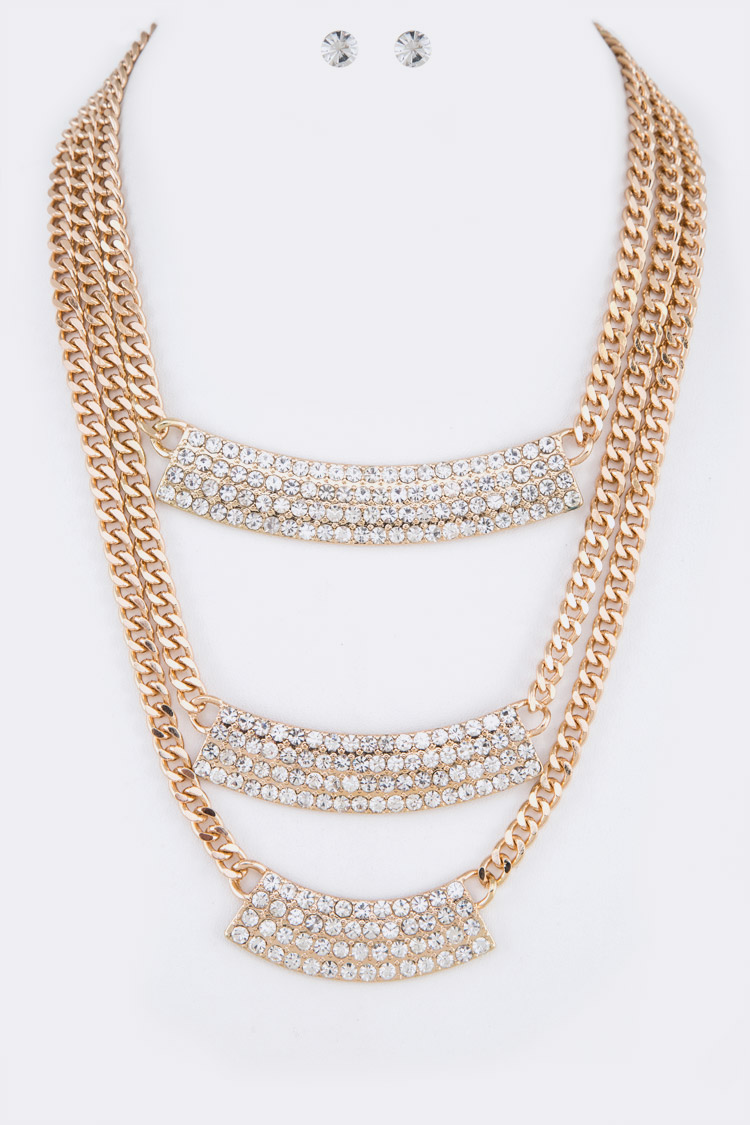 Crystal Bar Layered Statement Necklace Set