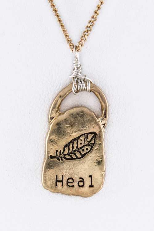 Heal Engraved Feather Pendant Necklace