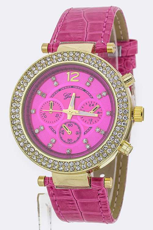 Crystal Bezel Chrono Style Fashion Watch