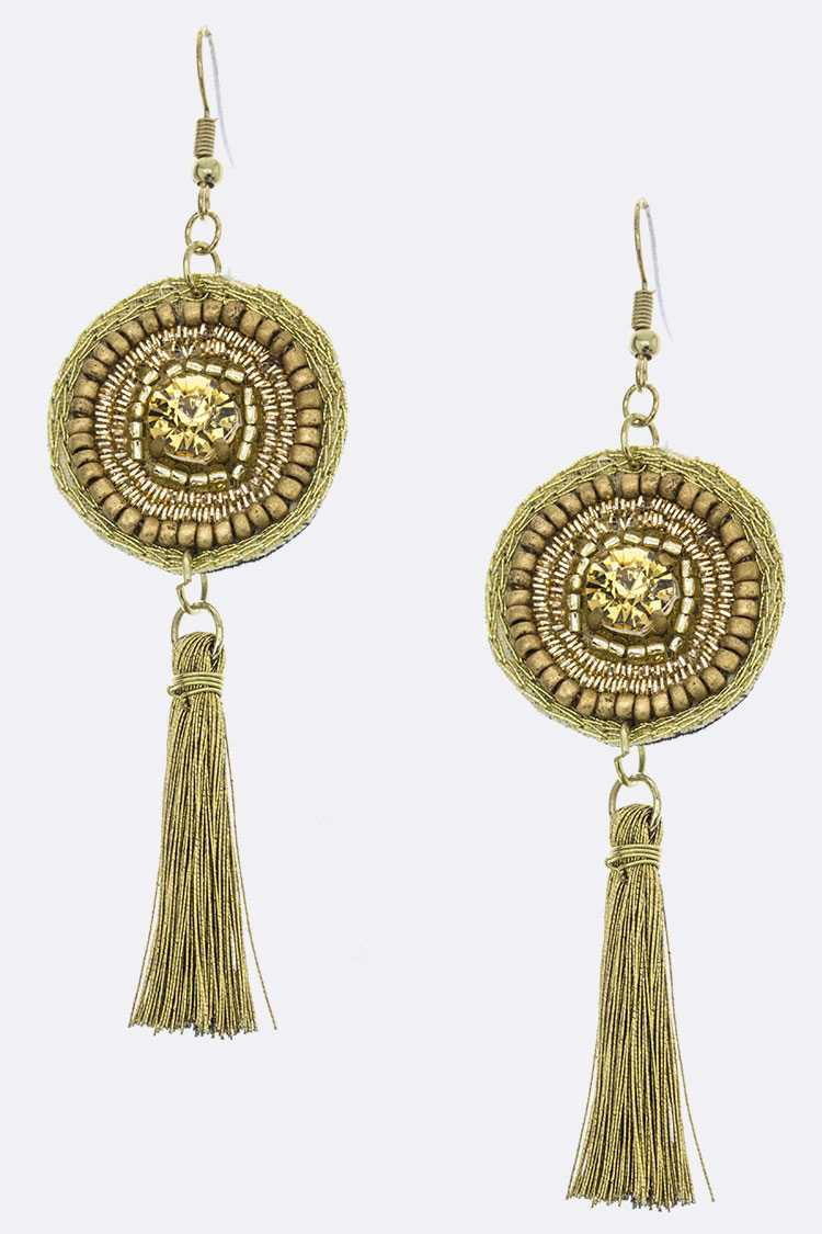 Crystal & Beaded Disk & Tassel Earrings
