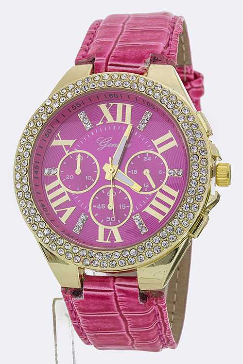 Roman Number Crystal Bezel Fashion Watch