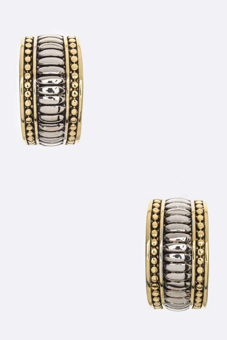 Designer 2 Tone Half Hoop Earrings