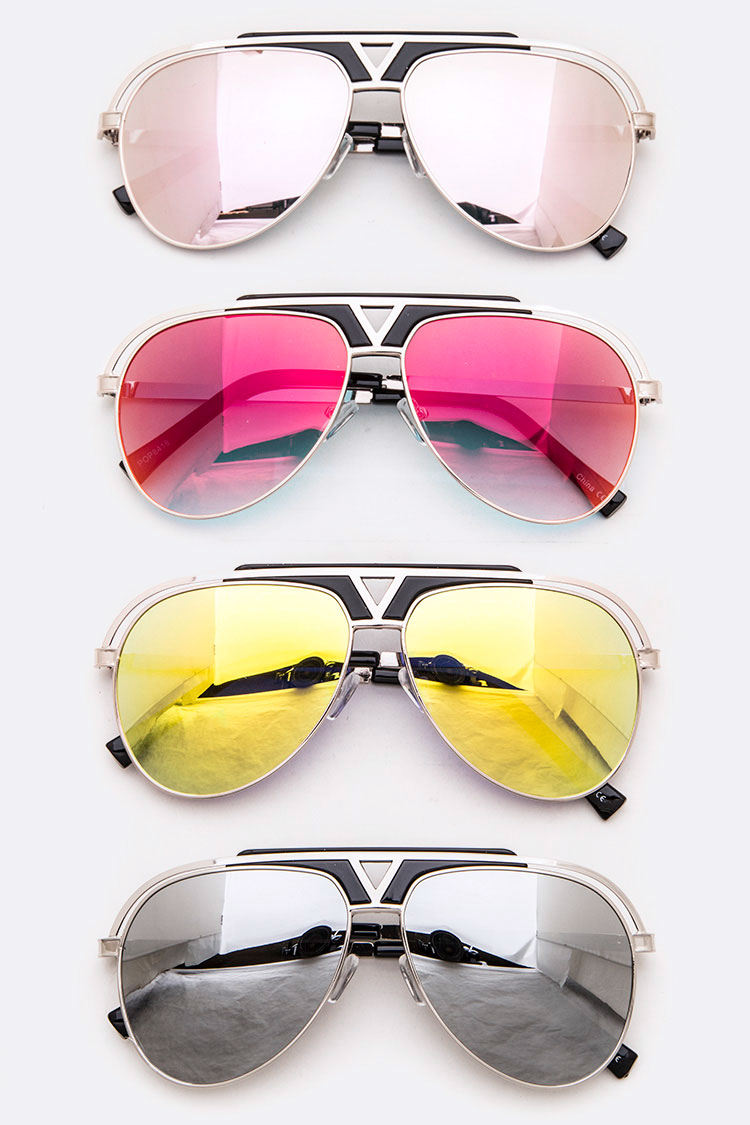 Color Mirror Tint Iconic Aviator Sunglasses