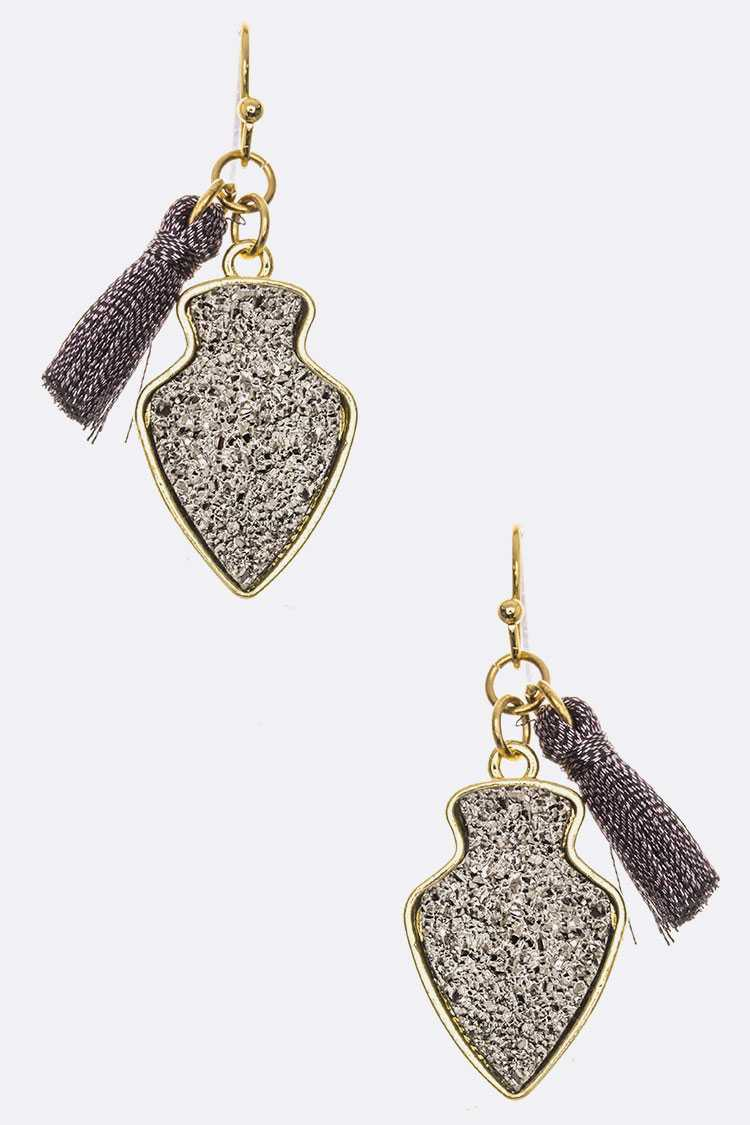 Druzy Arrowhead & Tassel Earrings