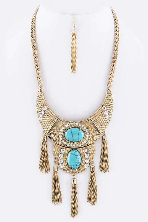Turquoise & Tassel Collar Necklace Set