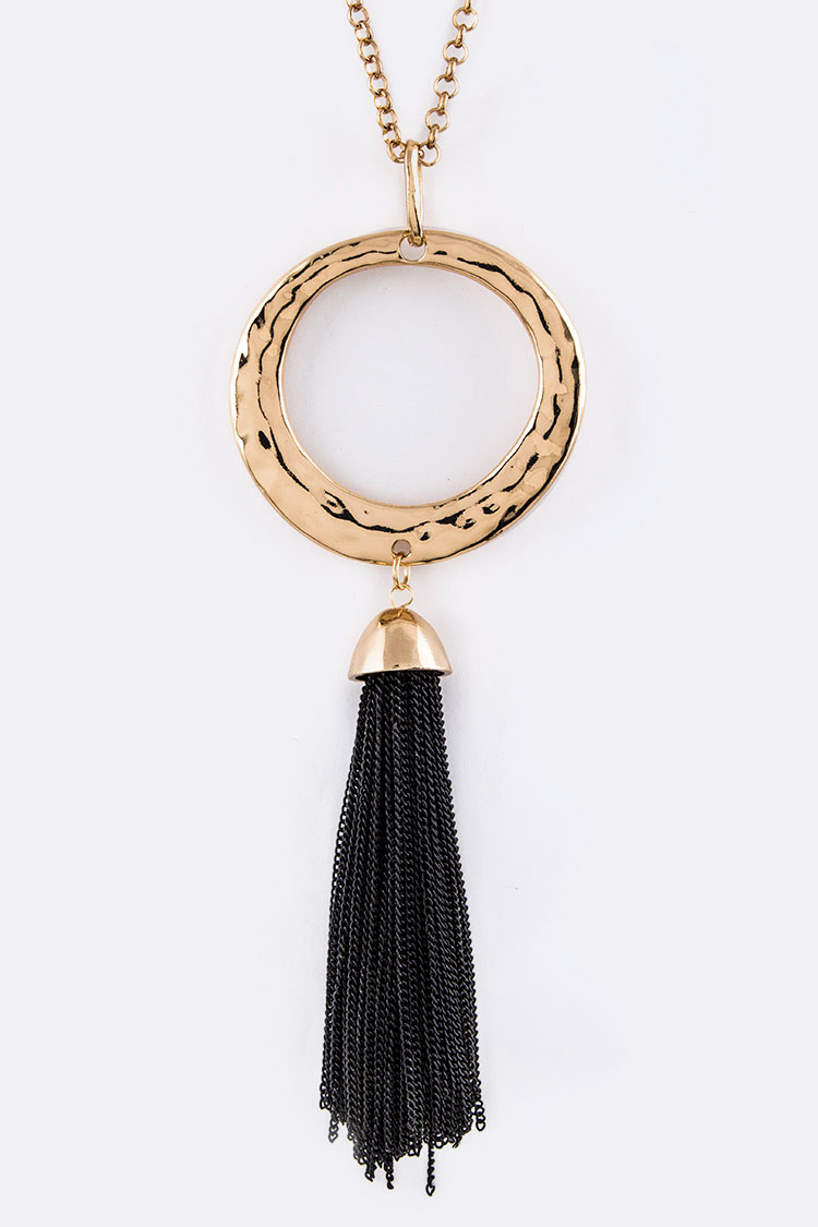 Chain Tassel Hammered Ring Fashion Necklace Set