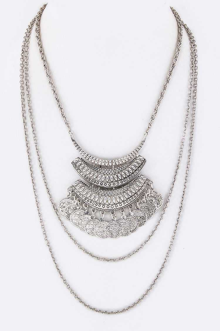 Fringe Coins Layer Bib Necklace