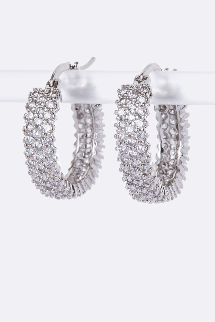 3 Rows CZ Micro Set Hoop Earrings