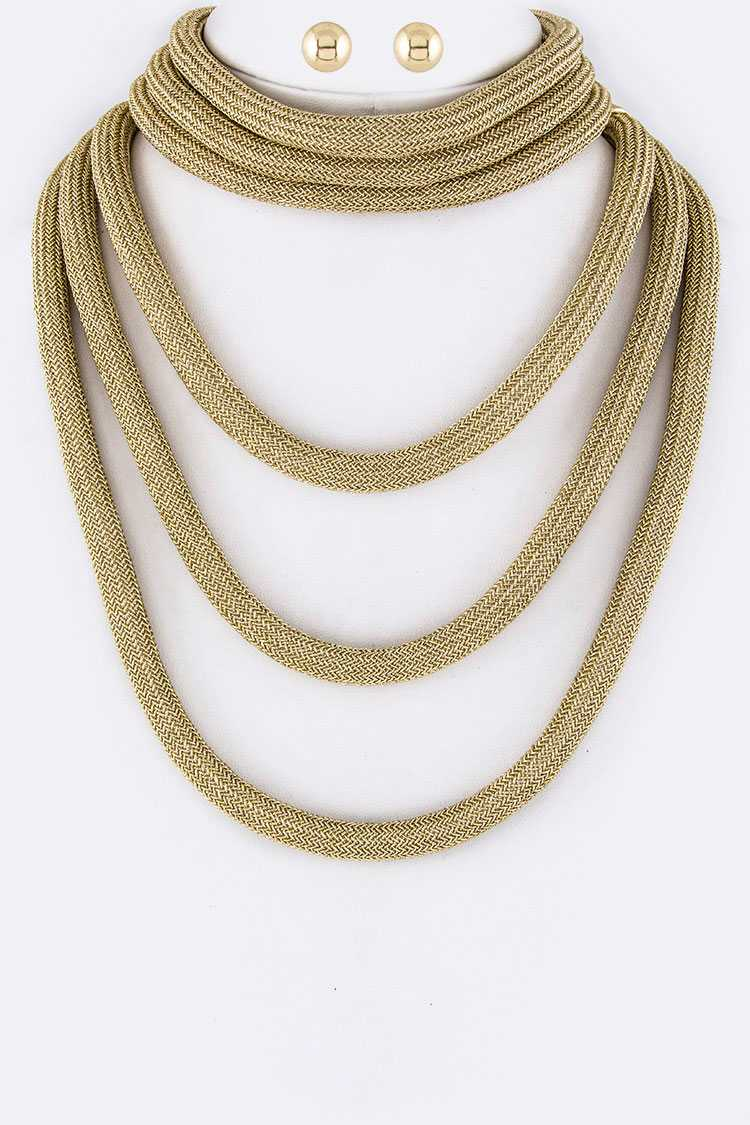 Lurex Ropes Layer Necklaces Set