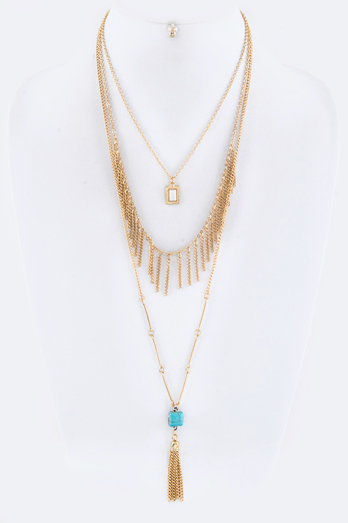 Turquoise Tassel Layer Necklace Set