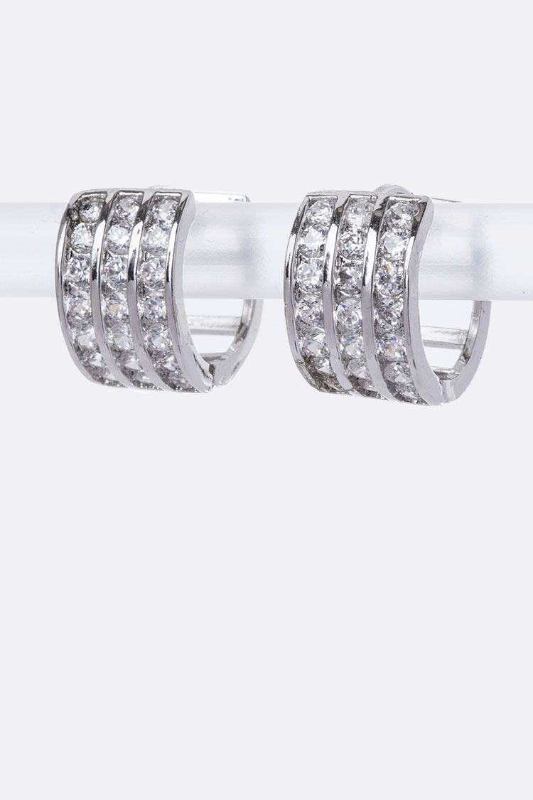 3 Row CZ Small Hoop Earrings