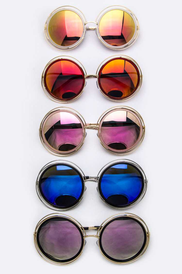 Layer Rim Round Fashion Sunglasses