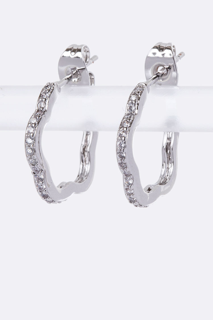 CZ Flower Petite Hoop Earrings