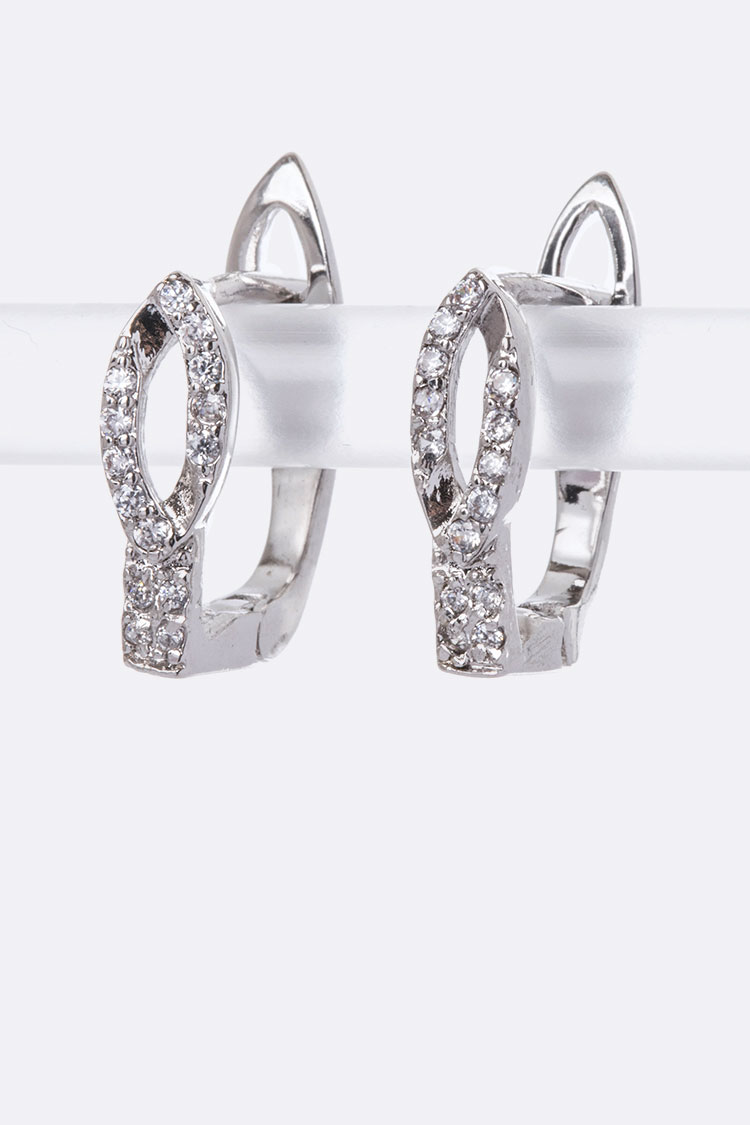 CZ Leaf Ear Hugger Hoop Earrings