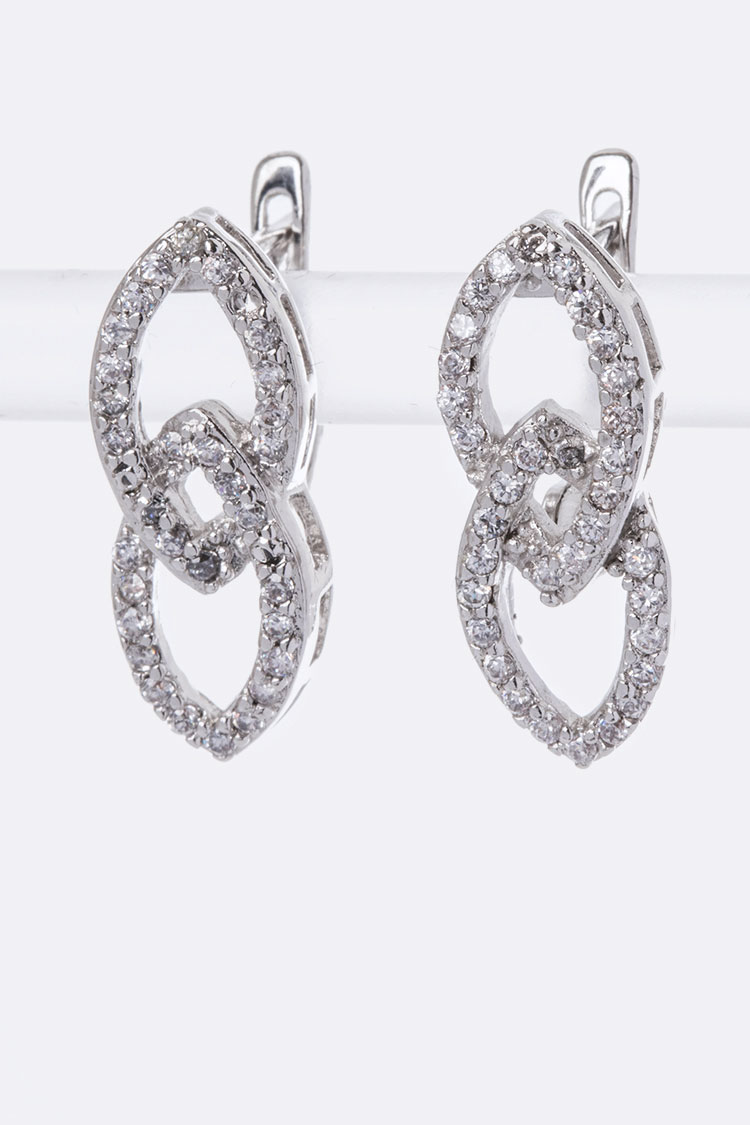Linked CZ Hoop Earrings