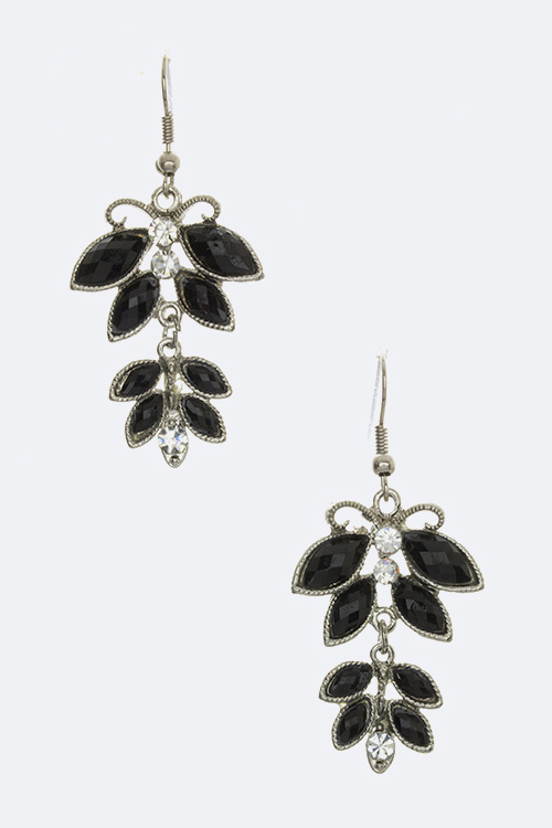 Marquise Crystal Floral Earrings