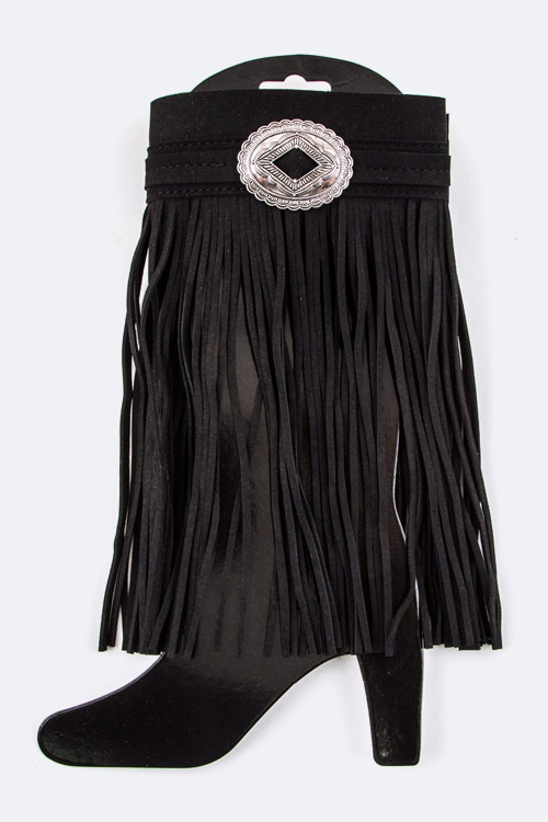 Concho & Fringe Suede Boot Top