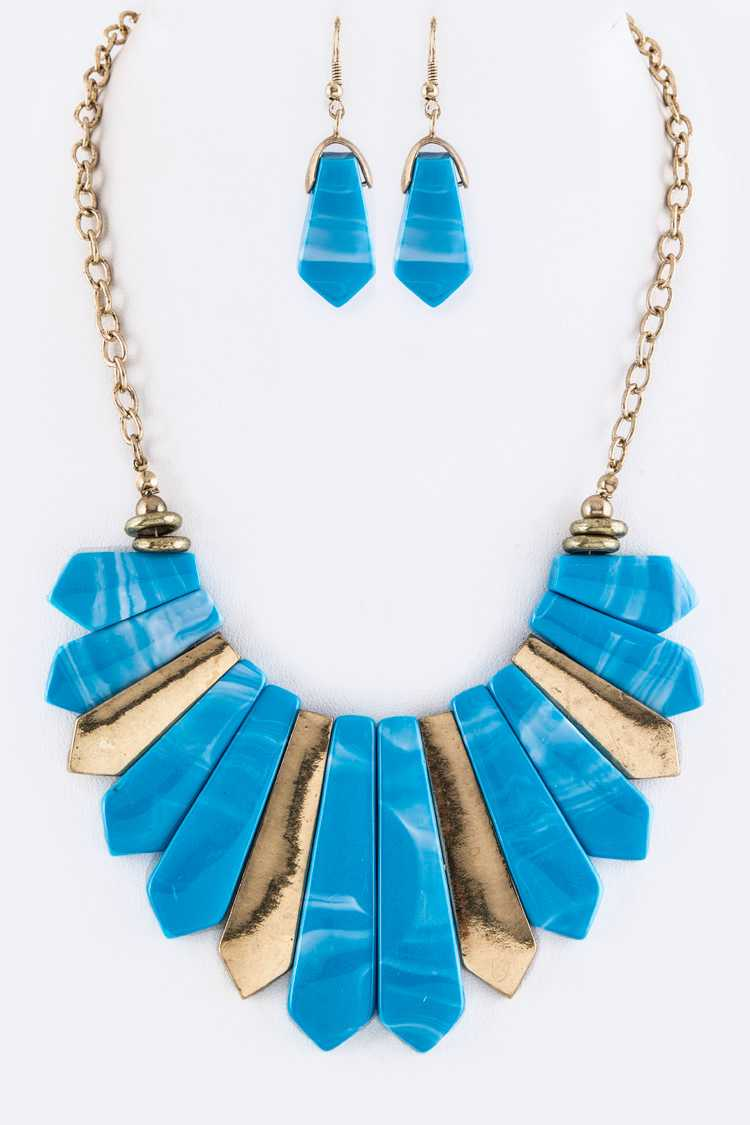 Stone & Metal Bars Statement Necklace Set