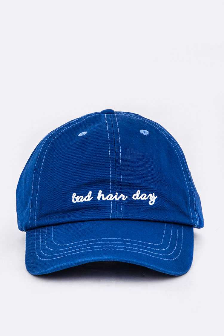 Bad Hair Day Embroidered Washed Cotton Cap