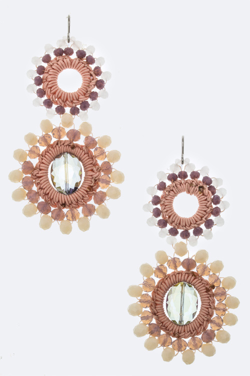 Bead & Fabric Wheel Earrings