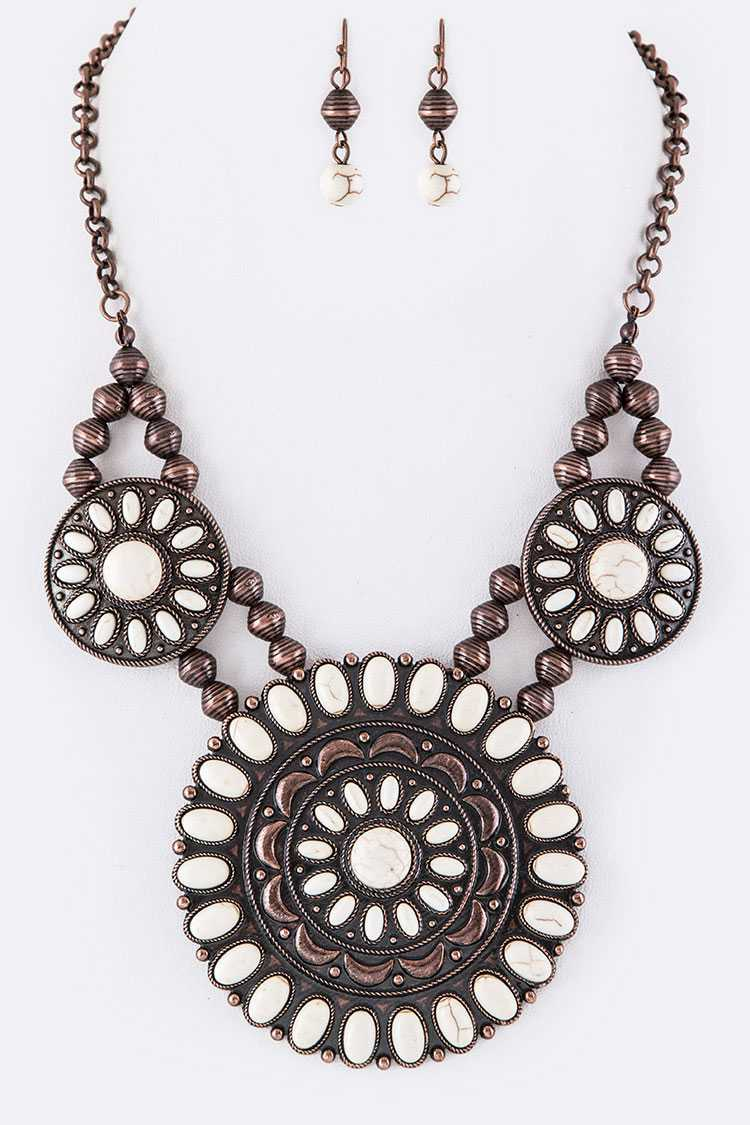 Pave Stone Medallions Statement Necklace Set