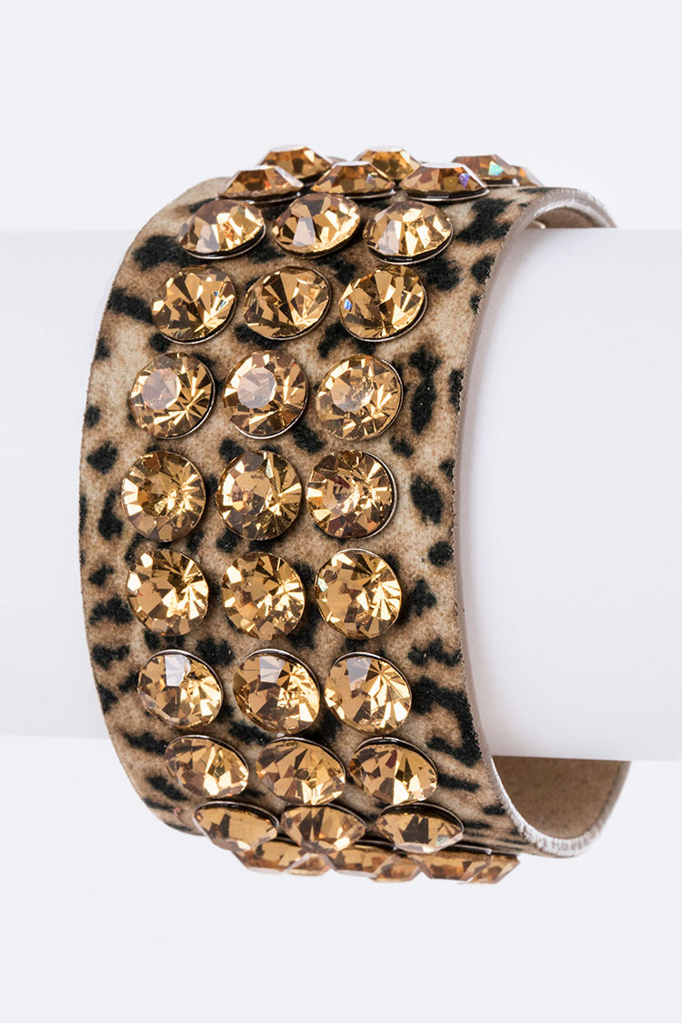 Crystals & Animal Print Plushy Cuff