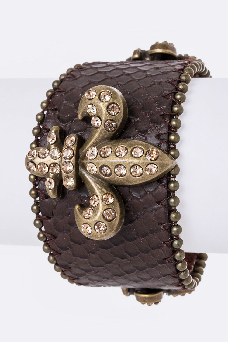 Crystal Fleur-de-lis Leather Cuff
