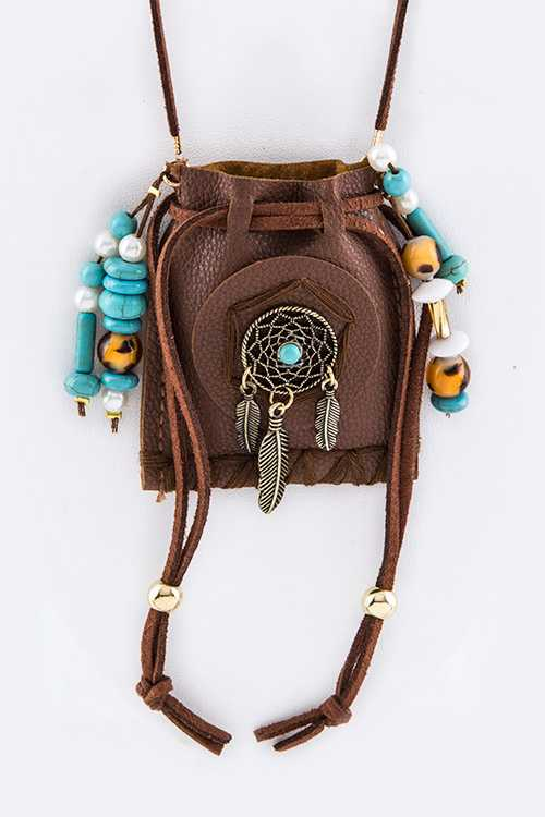 Mix Beads & Dream Catcher Pouch Necklace