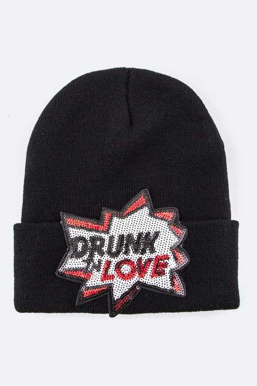 Sequins Drunk'n Love Beanie Hat
