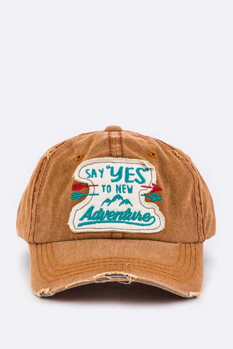 Say YES To New Adventure Embroidery Cotton Cap