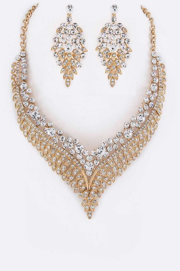 Crystal Leaf Collar Necklace Set