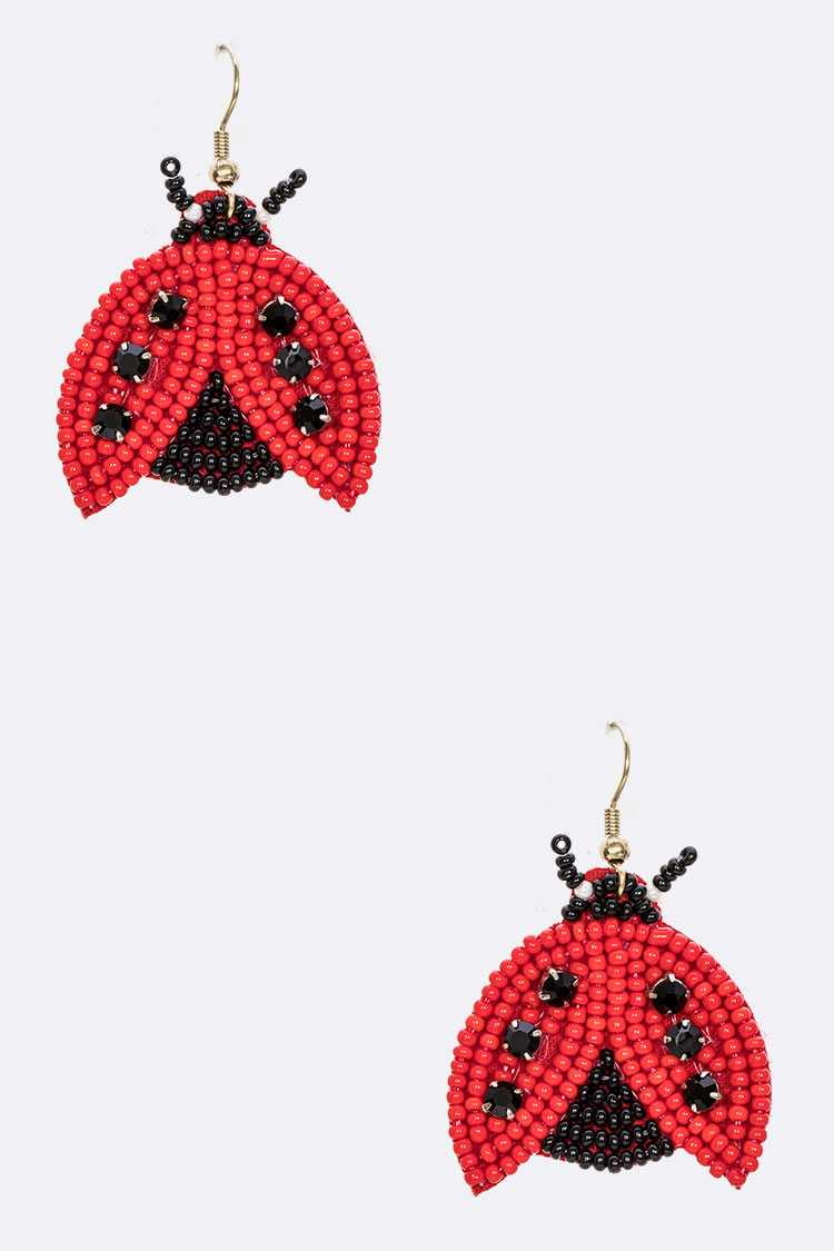 Beaded Ladybug Iconic Earrings