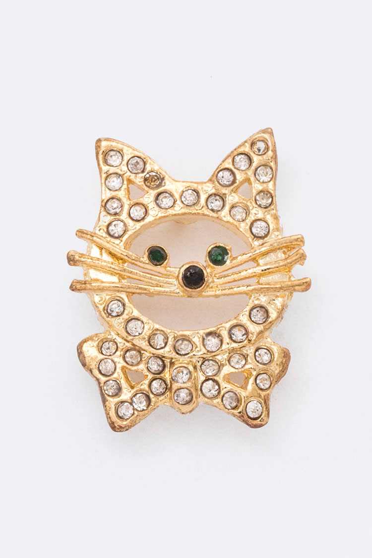 Crystal Kitty Lapel Pin